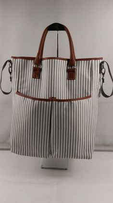 hotterbags stripe diaper bag with leather handle