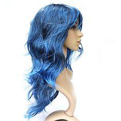 capless longo de 100% kasi fibra azul encaracolado peruca festa a fantasia - BRL R$ 26,10