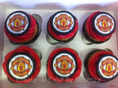 Manchester utd cupcakes By Create~A~Cake By Rebecca.... find us on Facebook x Soccer Birthday Parties, Birthday Cakes, Birthday Ideas, Manchester United Birthday Cake, Soccer Cake, Create A Cake, Giant Cupcakes, Graduation Ideas, Bar Mitzvah