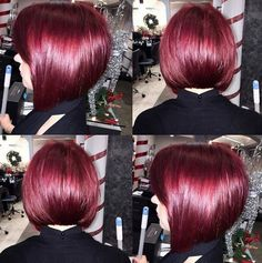 Red, Razored Round Bob Cut - Women Short Hairstyles