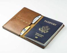 ALL LEATHER PASSPORT COVER . . . . . . . . . . . . . . . . . . . . . . . . . . . . Construction time is 2 weeks. Free USPS Priority shipping to all US customers. All products come with a lifetime warr