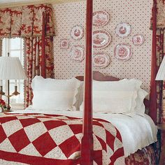 Red and white check, toile, prints, and transferware. I like the plates on the wall.