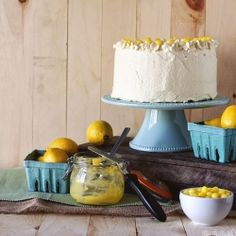 Lemon Drop Cake with layers of lemon curd and a buttercream frosting