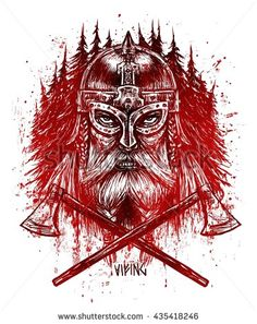 Viking on the background of the northern forest with two bloody ax . Graphic color illustration