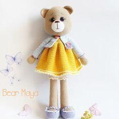 Ravelry: Amigurumi Bear Maya pattern by Tiny Mini Design Amigurumi Free, Amigurumi Toys, Crochet Patterns Amigurumi, Crochet Dolls, Crochet Teddy, Crochet Bear, Maya, Crochet Supplies, Crochet Motifs