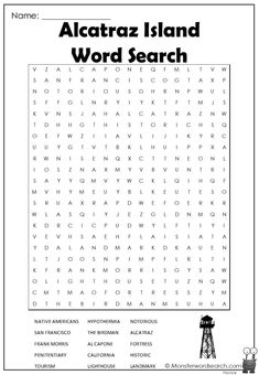 awesome Alcatraz Island Word Search
