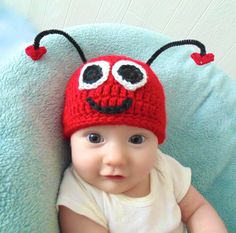 Crochet Love Bug Valentines Day Baby Hat by BlackberryCrochet, $19.99