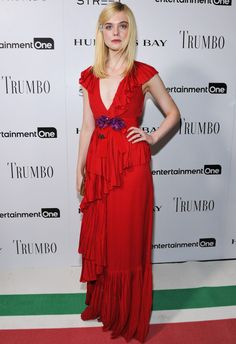 Best Dressed: Elle Fanning in '70s style Gucci red ruffle dress at Toronto Film Festival.