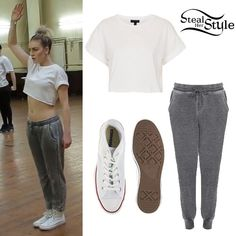 Perrie Edwards: Grey Sweatpants, White Tee | Steal Her Style