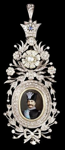 A fine gem-set rose-gold Insignia of the Qajar Order of the Imperial Effigy…