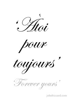 ♔ 'forever yours' speak french french love quotes, french words, french French Love Phrases, French Words Quotes, Latin Quotes, Latin Phrases, How To Speak French, French Sayings, The Words, Quotes To Live By, Life Quotes