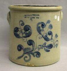 O. L .& A. K. Ballard Cobalt Floral Decorated Five-Gallon Stoneware Crock
