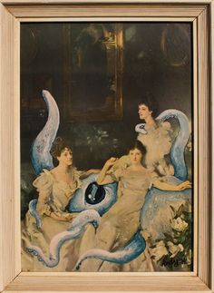 The Wyndham sisters flirt with the hired help.    Cephalopods make the best home help but, because of their natural beauty and willingness to please, they also have the highest amount of sexual harrassment claims.    This framed painting added to by Andy Heyward measures 210 x 285mm.