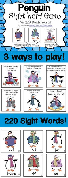 Penguin Sight Word game with 2 ways to play & all 220 Dolch words!