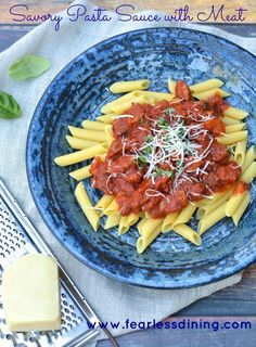 Savory Pasta Sauce with Meat   http://www.fearlessdining.com