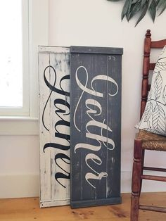 Wood Art Projects Wooden Signs Dining Rooms 59 Ideas For 2019 Gather Wood Sign, Gather Signs, Rustic Fall Decor, Diy Holz, Dining Room Walls, Room Signs, Diy Signs, Home Interior, Interior Design