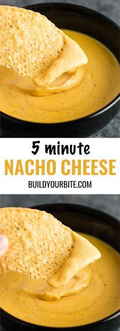 Easy 5 minute nacho cheese sauce recipe (gluten free) #nachocheese #nachocheesesauce #appetizers #mexicanfood #nachos #glutenfree