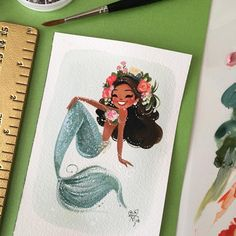 Happy Monday everyone! She's painted with gouache on Arches watercolor paper  -Liana Hee #MondayMermie #MiniMermies #gouache