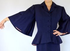 1950   Bell Sleeve Navy Wool with Pink Dots and Peach lining Suit by Lilli Ann