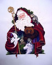 Finished Completed Cross Stitch SANTA OF THE FOREST (L & L 21) on 32ct. Linen Simply INCREDIBLE!