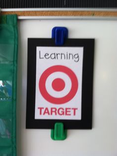 """Cute learning target sign! Love how her objectives are worded, """"In reading I can..."""" etc."""