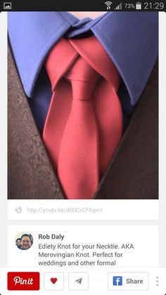 What a cool knot - Ediety (AKA Merovingian Knot), perfect for weddings and other formal occasions. Need to learn how to tie this one. Sharp Dressed Man, Well Dressed Men, La Mode Masculine, Suit And Tie, Swagg, Mens Suits, Mens Fashion, Fashion Tips, Men Dress