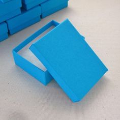 10 Turquoise Blue Cotton Filled Jewelry Boxes 3 by SomersetMarket, $6.50