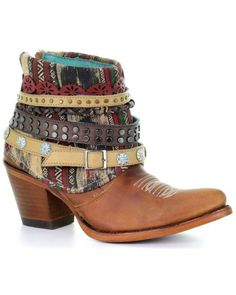 Corral Women's Honey Studded & Woven Harness Ankle Boots - Pointed Toe, Honey, hi-res Kids Western Boots, Womens Cowgirl Boots, Boots For Short Women, Short Boots, Bootie Boots, Ankle Boots, Boot Jewelry, Corral Boots, Leather Boots