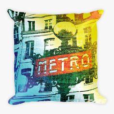 Paris Metro Sign - Pop Art Throw Pillow
