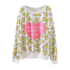 Sweet Pizza Printed Pullover Sweatshirt ($13) ❤ liked on Polyvore featuring tops, hoodies, sweatshirts, heart print top, pullover sweatshirts, pullover crew neck sweatshirts, heart tops and print pullover
