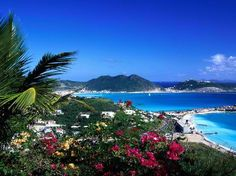 St. Maartin/St Martin, Virgin Islands.  Half the island is Dutch and half of the island is French