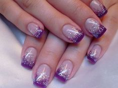 68 Ideas nails french manicure glitter purple for 2019 Purple Manicure, Purple Glitter Nails, Glitter French Manicure, French Tip Nails, Purple Wedding Nails, French Pedicure, French Manicure Nail Designs, Wedding Manicure, French Manicures