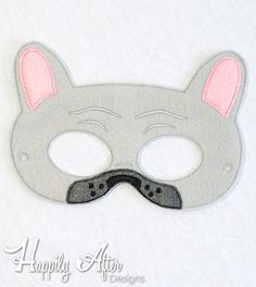 French Bulldog mask ITH embroidery design to make a great costume mask to wear and enjoy!