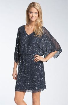 mama--Pisarro Nights Beaded Kimono Sleeve Dress available at #Nordstrom