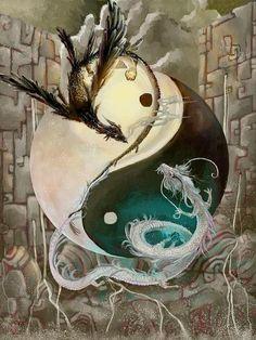 Yin Yang Black and White Dragon Fantasy Myth Mythical Mystical Legend Dragons Wings Sword Sorcery Art Magic Yen Yang, Ying Y Yang, Yin Yang Art, Yin And Yang, Magical Creatures, Fantasy Creatures, Yin Yang Tattoos, Dragon Yin Yang Tattoo, Dragon Artwork