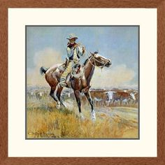 Global Gallery 'Western Beef for the Fighters' by Charles M. Russell Framed Graphic Art Size: