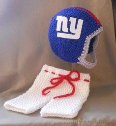 New York Giants Inspired Crochet Baby Football Helmet Hat and Pants With Logo - Newborn, 0-3 Months on Etsy, $49.99