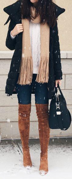 #winter #fashion /  Black Coat / Camel Fringe Scarf / White Knit / Navy Skinny Jeans / Brown Velvet OTK Boots