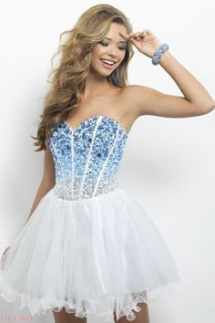 //A blue faded into white homecoming dress//