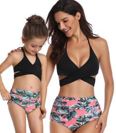 mother daughter swimsuit family matching outfits mommy and me clothes swimwear mom daughter tassel bikini high waist family look Mother Daughter Matching Outfits, Mommy And Me Outfits, Mom Daughter, Matching Family Outfits, Mother And Daughter Clothes, Bikini Poses, Cute Swimsuits, Women Swimsuits, Girls Swimming