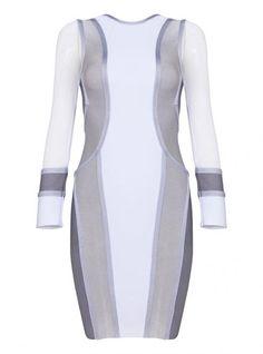 Gray Mesh Long Sleeve Bandage Dress H854 @Heather Pullin @Alice Green @Elin Gulbrandsen @Grezia Gonzalez @Chloe Gayles