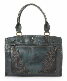 Turquoise Embroidered Cutout Vaquetta Leather Shoulder Bag by Leaders in Leather #zulily #zulilyfinds