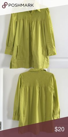 Bebe Size Small Pleated Blouse This is a lime greenish Blouse. Very soft stretchy material. The top of the sleeves are sinched and the upper part of the shirt is pleated. The top is flowy and not snug so basically more of a medium than a small compared to all the tight fitting Bebe tops.. This will look great with leggings or jeans and boots! bebe Tops Button Down Shirts