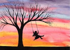 "easy watercolor paintings | Evening Joy"" - original watercolor painting by Kirsten Bailey"