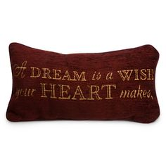 """A dream is a wish your heart makes"" Cinderella accent pillow #Disney"