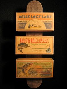 Nostalgic cottage decorations of Mille Lacs fishing lure boxes.