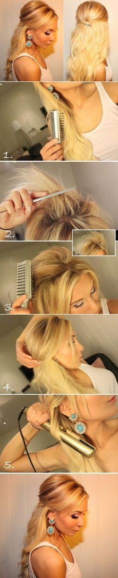 Teased Half Up Half Down Hairstyle Tutorial: Easy Prom Hairstyles.