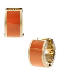 Barrel Huggie Earrings, Golden/Orange by Michael Kors at Neiman Marcus. on sale for $48 (was $65)