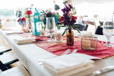 Laos scarves used as runner Laos inspired wedding Mystic Boat Shed Wedding Coastal Gourmet Catering Maggie Conley Photo Rectangle Wedding Tables, Long Table Wedding, Shed Wedding, Boat Shed, Centerpieces, Table Decorations, Catering, Table Settings, Wedding Inspiration