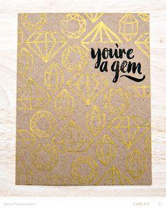 Geometric gems notecard made with Studio Calico Poet Society kits by @pixnglue